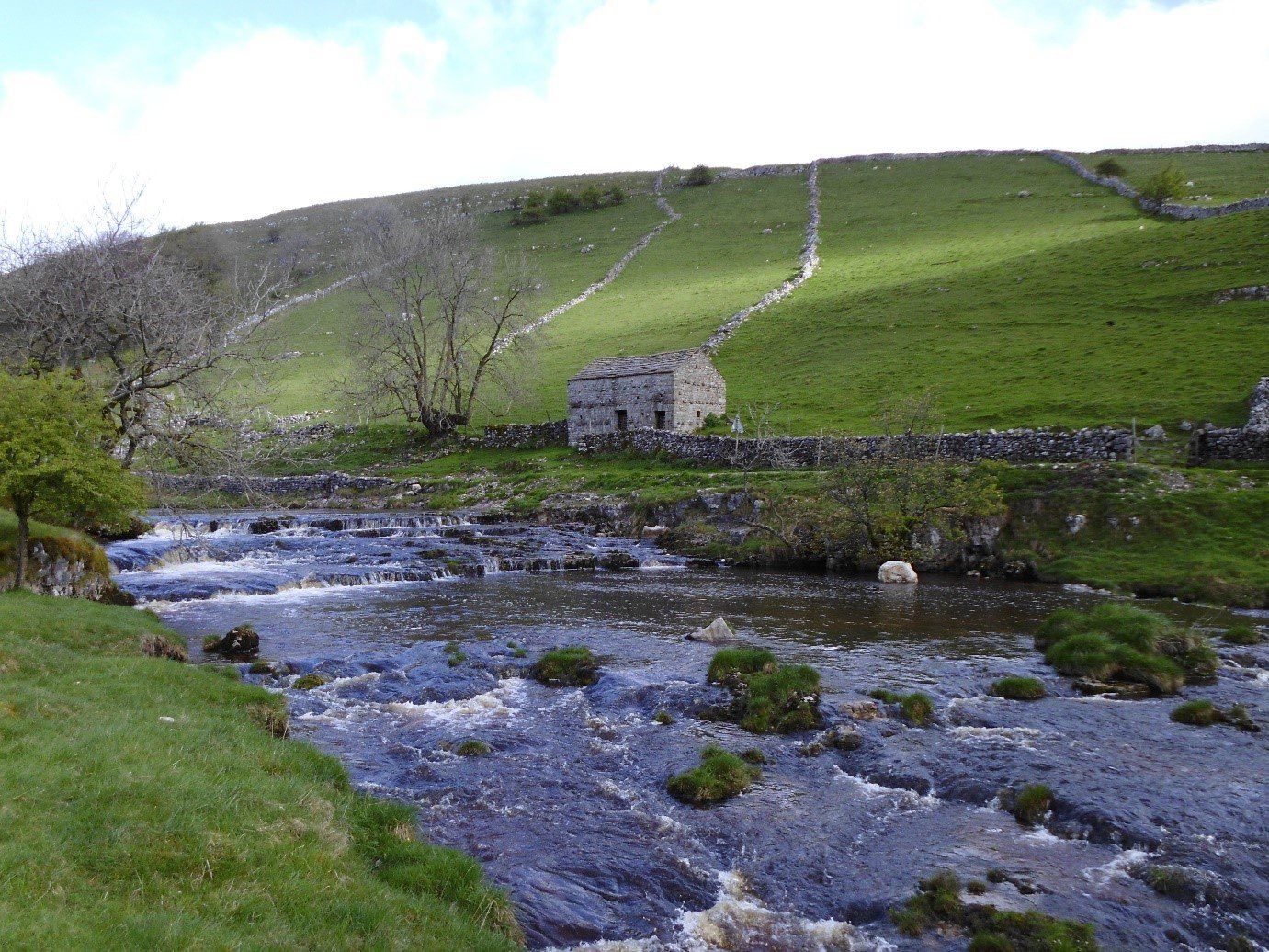 Featured walk yorkshire dales, river, dry stone walls, stone barn