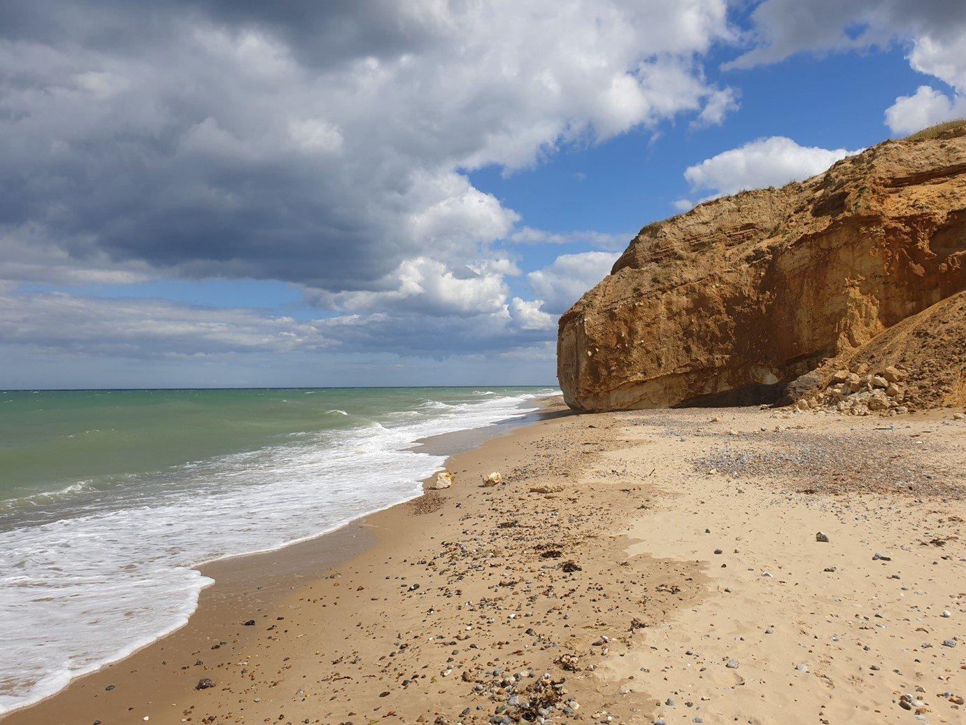 sea shore, beach, cliffs, Norfolk coast path